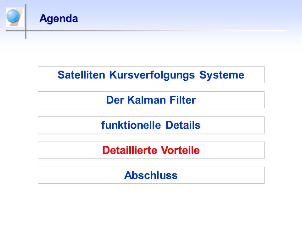 Agenda Satelliten Kursverfolgungs Systeme Der Kalman Filter Detaillierte Vorteile Abschluss funktionelle Details Detaillierte Vorteile