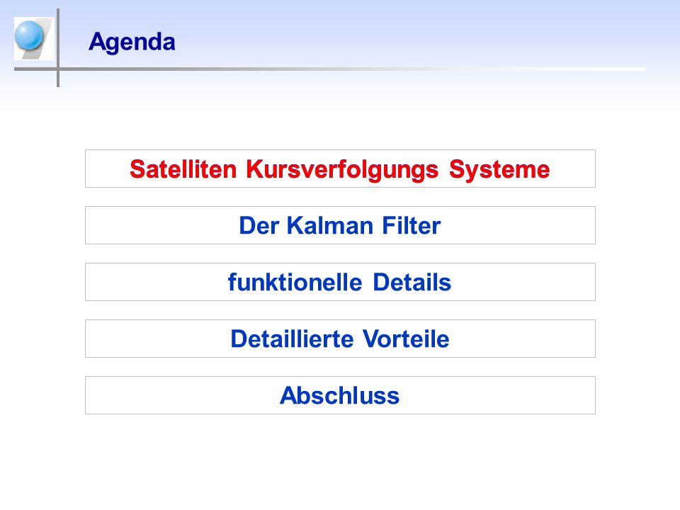 Agenda Satelliten Kursverfolgungs Systeme Der Kalman Filter Detaillierte Vorteile Abschluss funktionelle Details Satelliten Kursverfolgungs Systeme