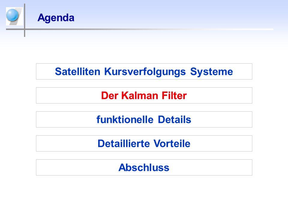 Agenda Satelliten Kursverfolgungs Systeme Der Kalman Filter Detaillierte Vorteile Abschluss funktionelle Details Der Kalman Filter