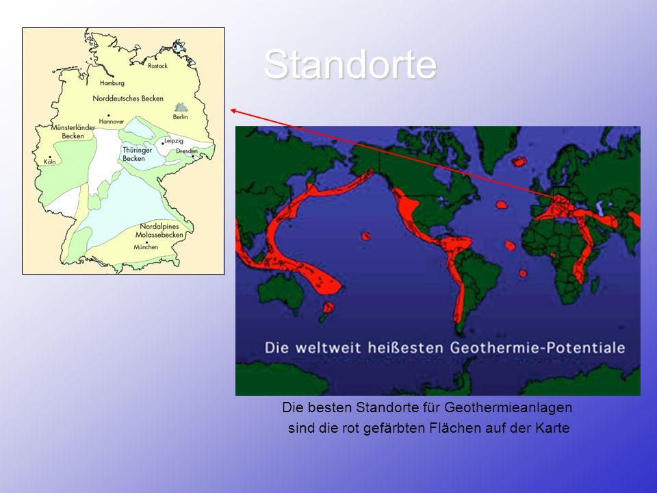 Standorte Die besten Standorte für Geothermieanlagen sind die rot gefärbten Flächen auf der Karte