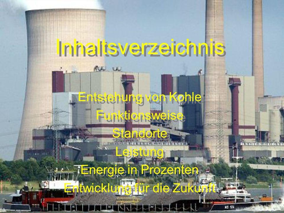 Inhaltsverzeichnis Entstehung von Kohle Funktionsweise Standorte Leistung Energie in Prozenten Entwicklung für die Zukunft Entstehung von Kohle Funkti