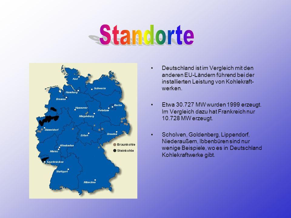 Deutschland ist im Vergleich mit den anderen EU-Ländern führend bei der installierten Leistung von Kohlekraft- werken. Etwa 30.727 MW wurden 1999 erze