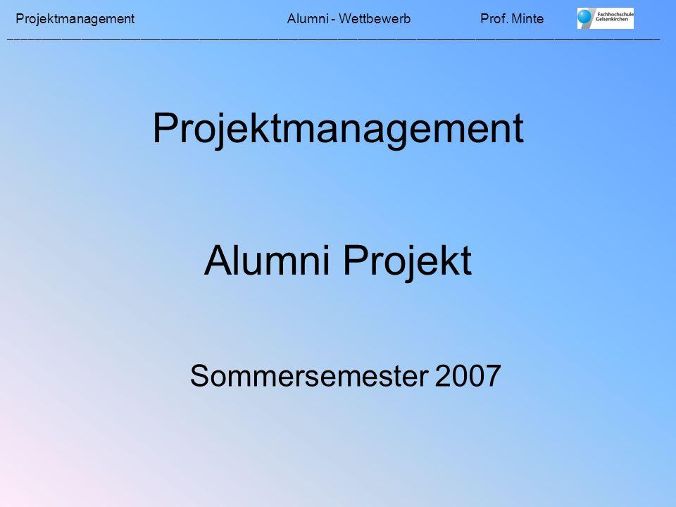 Projektmanagement Alumni - WettbewerbProf.