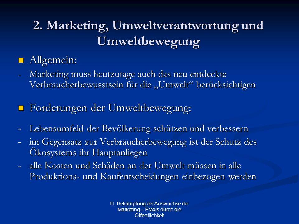 III. Bekämpfung der Auswüchse der Marketing – Praxis durch die Öffentlichkeit 2. Marketing, Umweltverantwortung und Umweltbewegung Allgemein: Allgemei