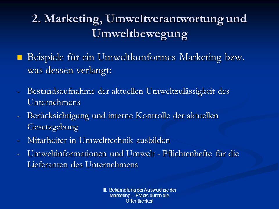 III. Bekämpfung der Auswüchse der Marketing – Praxis durch die Öffentlichkeit 2. Marketing, Umweltverantwortung und Umweltbewegung Beispiele für ein U