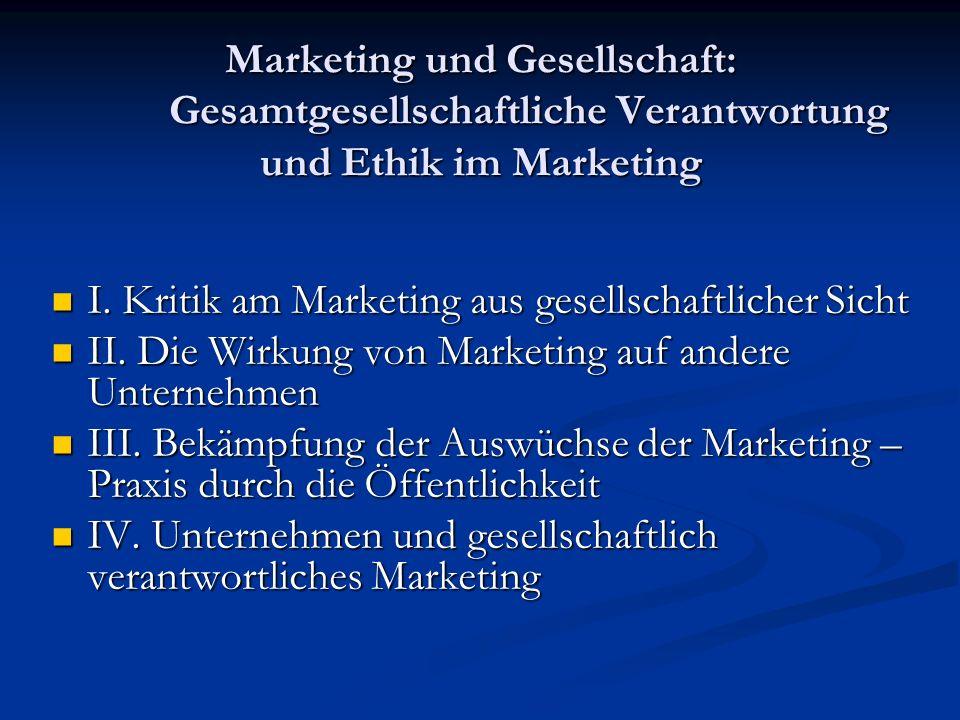 I. Kritik am Marketing aus gesellschaftlicher Sicht I. Kritik am Marketing aus gesellschaftlicher Sicht II. Die Wirkung von Marketing auf andere Unter