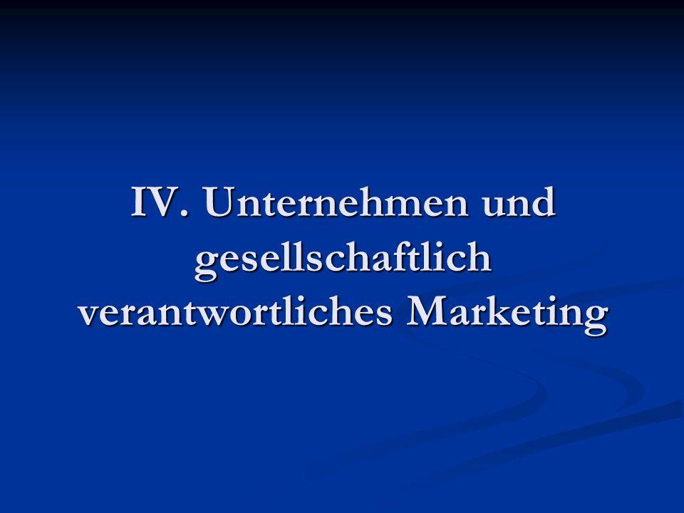 IV. Unternehmen und gesellschaftlich verantwortliches Marketing