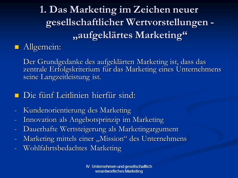 IV. Unternehmen und gesellschaftlich verantwortliches Marketing 1. Das Marketing im Zeichen neuer gesellschaftlicher Wertvorstellungen - aufgeklärtes