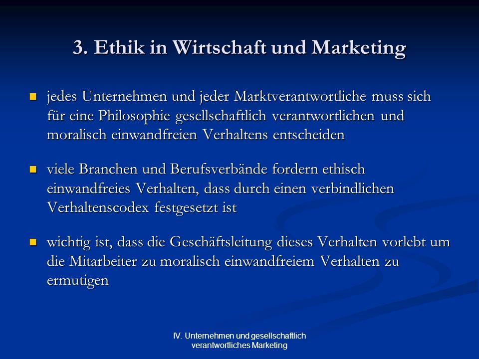 IV. Unternehmen und gesellschaftlich verantwortliches Marketing 3. Ethik in Wirtschaft und Marketing jedes Unternehmen und jeder Marktverantwortliche