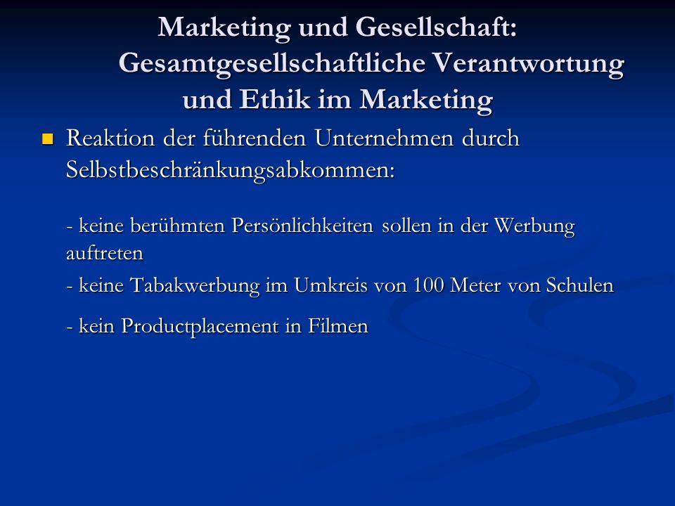 Marketing und Gesellschaft: Gesamtgesellschaftliche Verantwortung und Ethik im Marketing Reaktion der führenden Unternehmen durch Selbstbeschränkungsa