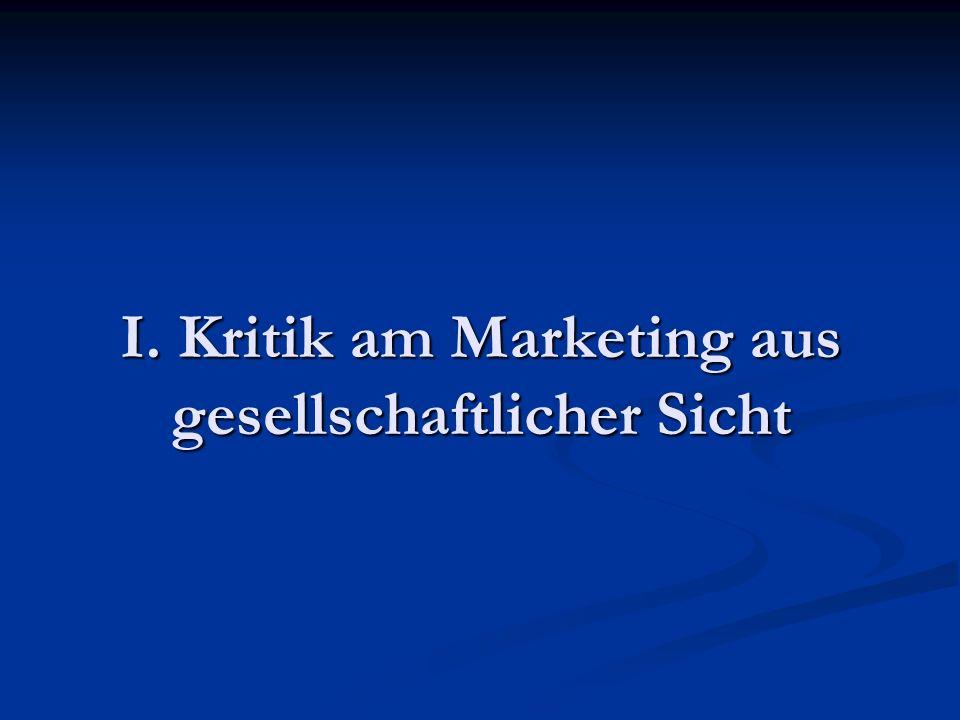 I. Kritik am Marketing aus gesellschaftlicher Sicht