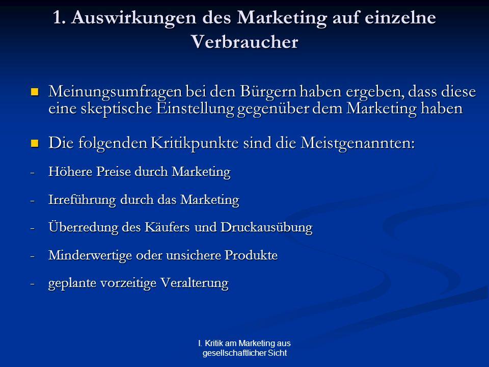 I. Kritik am Marketing aus gesellschaftlicher Sicht 1. Auswirkungen des Marketing auf einzelne Verbraucher Meinungsumfragen bei den Bürgern haben erge