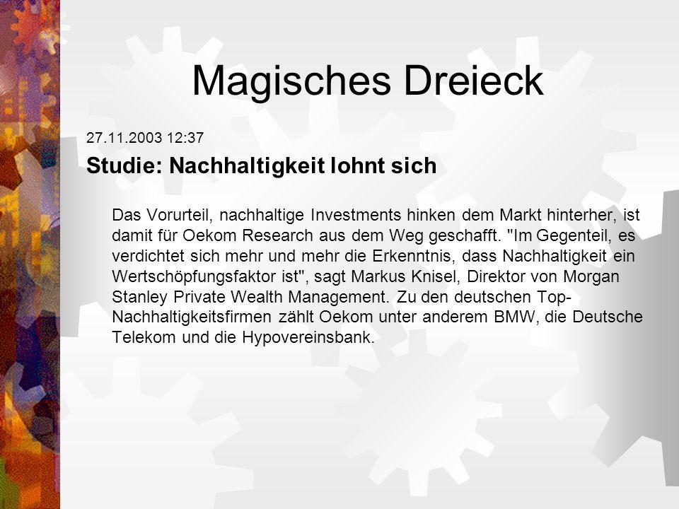Magisches Dreieck 27.11.2003 12:37 Studie: Nachhaltigkeit lohnt sich Das Vorurteil, nachhaltige Investments hinken dem Markt hinterher, ist damit für Oekom Research aus dem Weg geschafft.