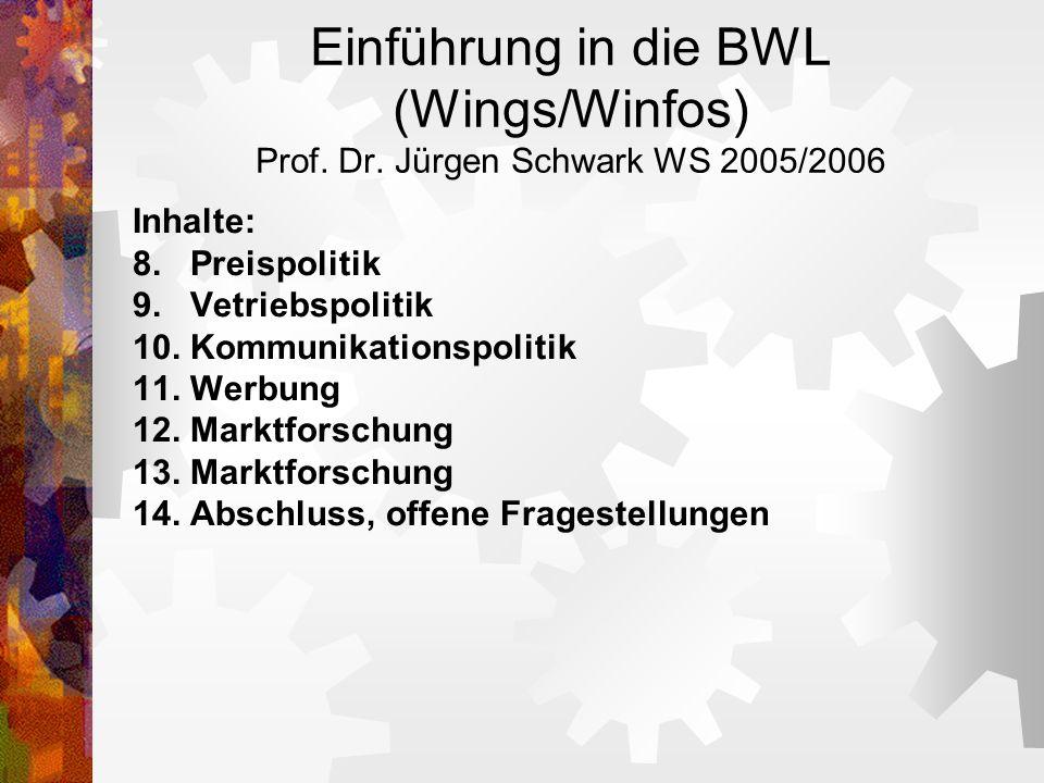 Einführung in die BWL (Wings/Winfos) Prof. Dr. Jürgen Schwark WS 2005/2006 Inhalte: 8. Preispolitik 9. Vetriebspolitik 10. Kommunikationspolitik 11. W