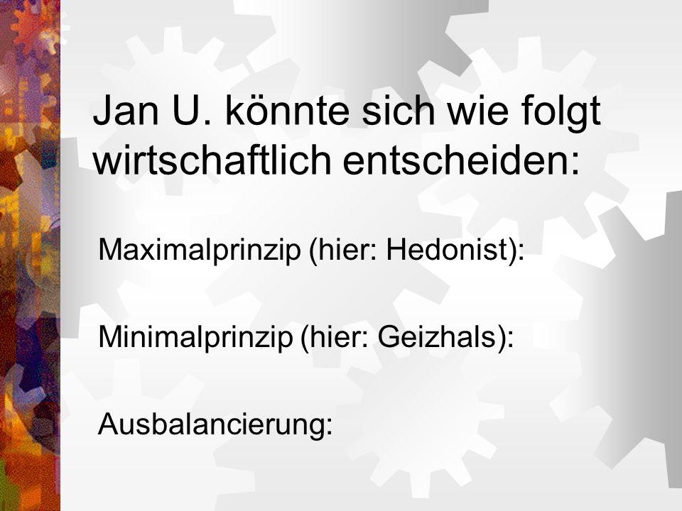 Jan U. könnte sich wie folgt wirtschaftlich entscheiden: Maximalprinzip (hier: Hedonist): Minimalprinzip (hier: Geizhals): Ausbalancierung: