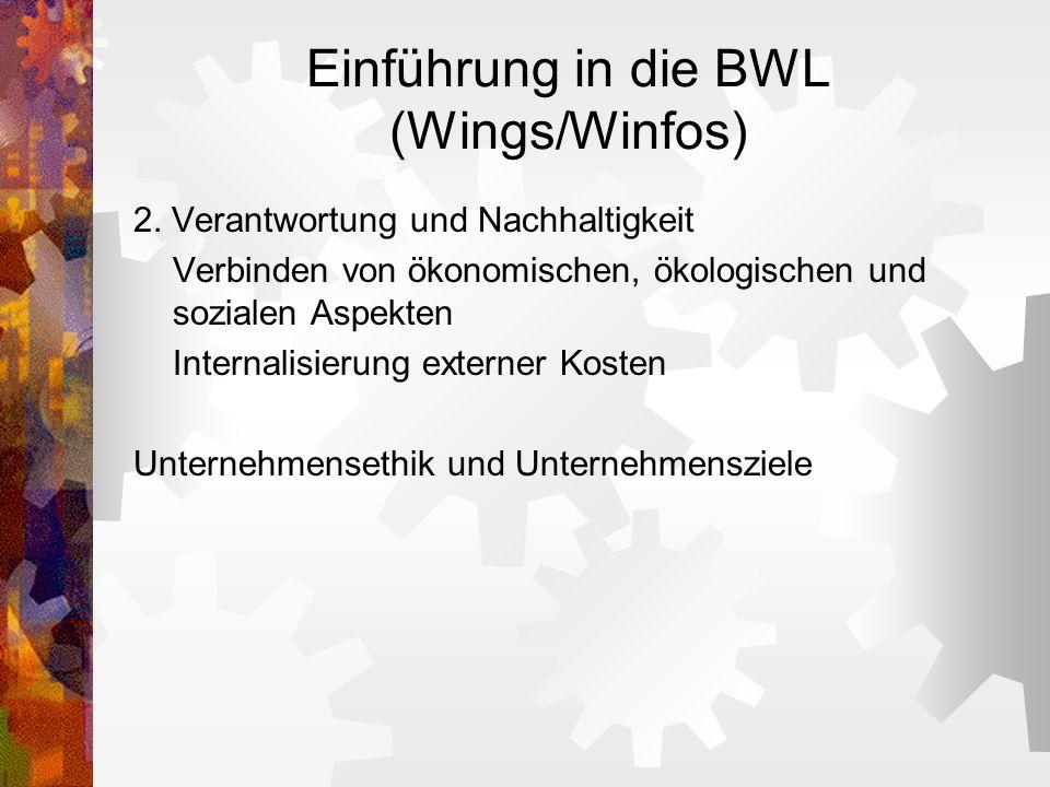 Einführung in die BWL (Wings/Winfos) 2. Verantwortung und Nachhaltigkeit Verbinden von ökonomischen, ökologischen und sozialen Aspekten Internalisieru