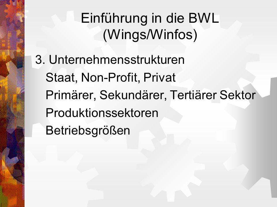 Einführung in die BWL (Wings/Winfos) 3. Unternehmensstrukturen Staat, Non-Profit, Privat Primärer, Sekundärer, Tertiärer Sektor Produktionssektoren Be