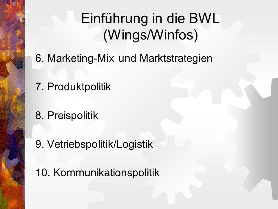 Einführung in die BWL (Wings/Winfos) 6. Marketing-Mix und Marktstrategien 7. Produktpolitik 8. Preispolitik 9. Vetriebspolitik/Logistik 10. Kommunikat