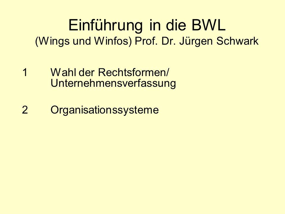 Einführung in die BWL (Wings und Winfos) Prof. Dr. Jürgen Schwark 1 Wahl der Rechtsformen/ Unternehmensverfassung 2 Organisationssysteme