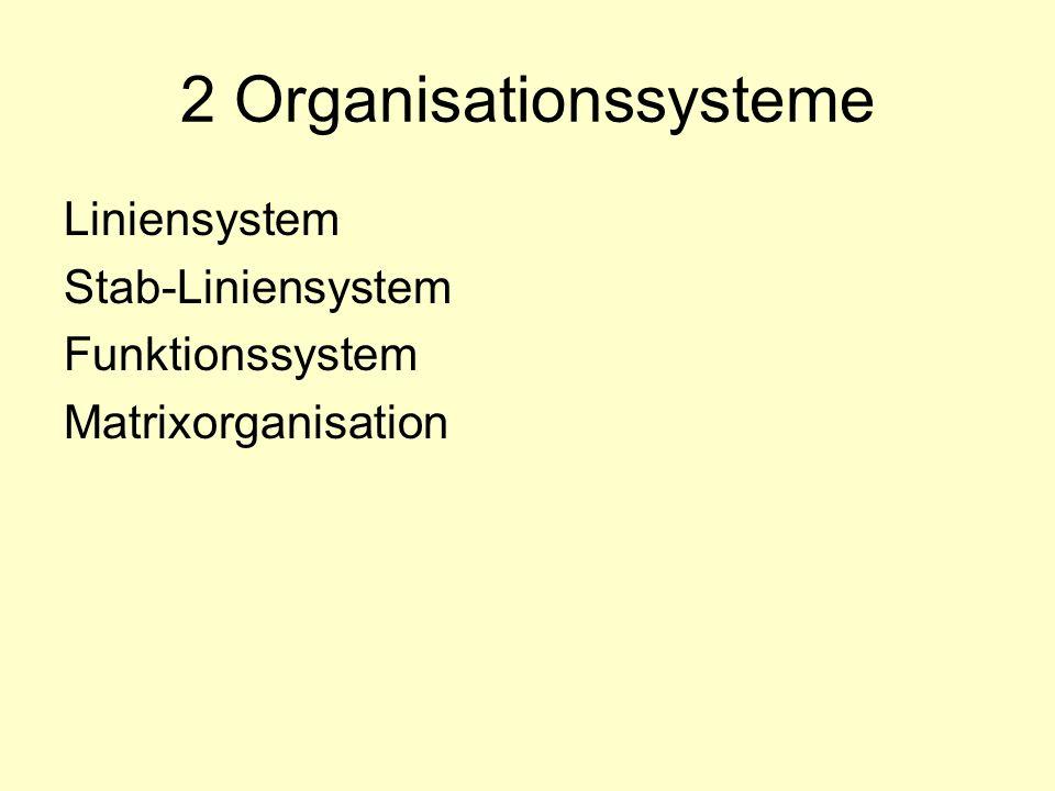 2 Organisationssysteme Liniensystem Stab-Liniensystem Funktionssystem Matrixorganisation