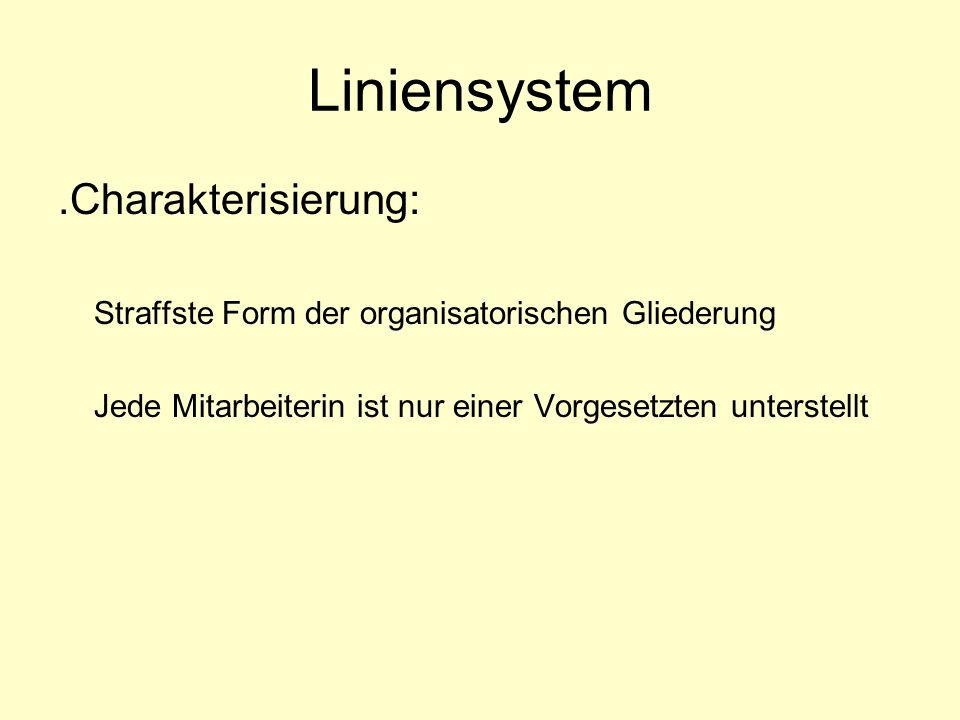 Liniensystem.Charakterisierung: Straffste Form der organisatorischen Gliederung Jede Mitarbeiterin ist nur einer Vorgesetzten unterstellt