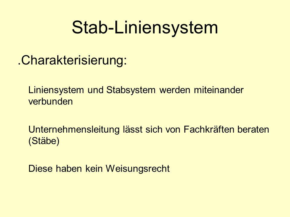 Stab-Liniensystem.Charakterisierung: Liniensystem und Stabsystem werden miteinander verbunden Unternehmensleitung lässt sich von Fachkräften beraten (