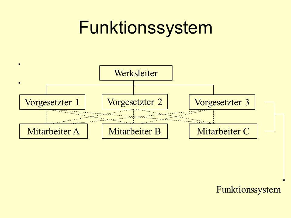 Funktionssystem.... Vorgesetzter 1 Vorgesetzter 2 Mitarbeiter BMitarbeiter AMitarbeiter C Vorgesetzter 3 Werksleiter Funktionssystem