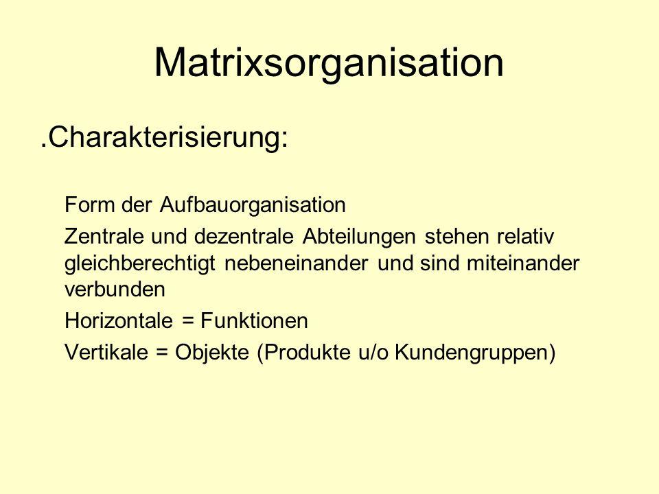 Matrixsorganisation.Charakterisierung: Form der Aufbauorganisation Zentrale und dezentrale Abteilungen stehen relativ gleichberechtigt nebeneinander u