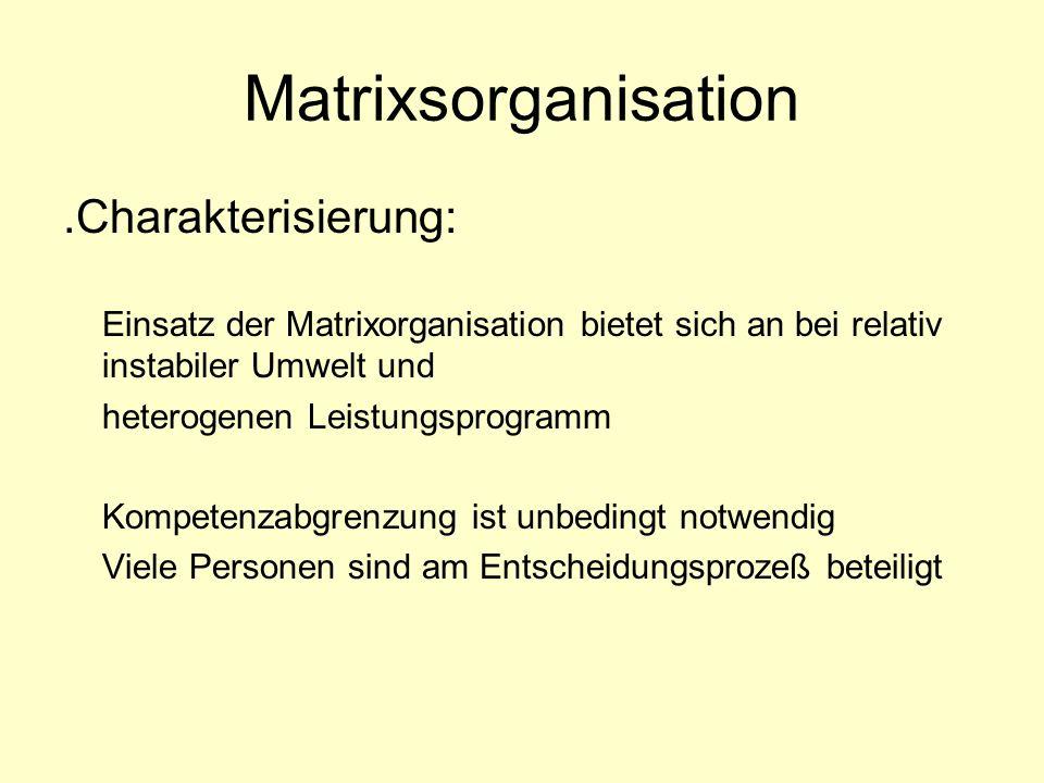 Matrixsorganisation.Charakterisierung: Einsatz der Matrixorganisation bietet sich an bei relativ instabiler Umwelt und heterogenen Leistungsprogramm K