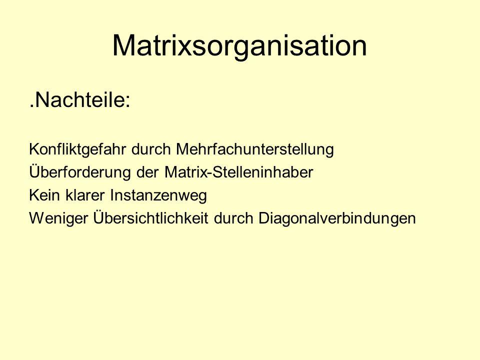 Matrixsorganisation.Nachteile: Konfliktgefahr durch Mehrfachunterstellung Überforderung der Matrix-Stelleninhaber Kein klarer Instanzenweg Weniger Übe