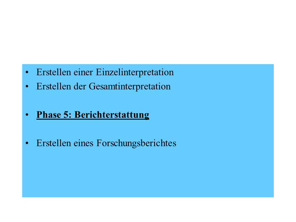 Erstellen einer Einzelinterpretation Erstellen der Gesamtinterpretation Phase 5: Berichterstattung Erstellen eines Forschungsberichtes