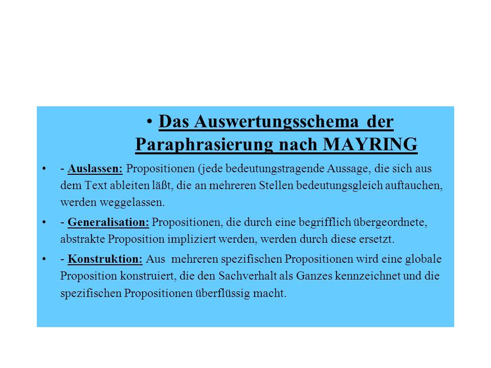 Das Auswertungsschema der Paraphrasierung nach MAYRING - Auslassen: Propositionen (jede bedeutungstragende Aussage, die sich aus dem Text ableiten läß