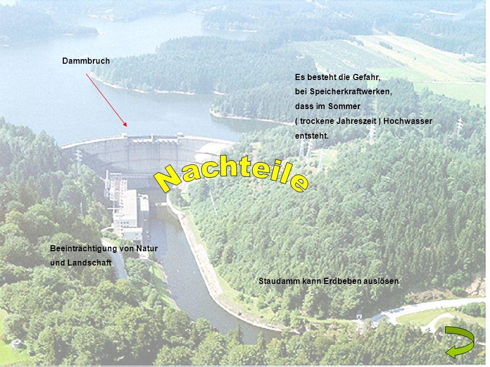 Dammbruch Es besteht die Gefahr, bei Speicherkraftwerken, dass im Sommer ( trockene Jahreszeit ) Hochwasser entsteht. Staudamm kann Erdbeben auslösen