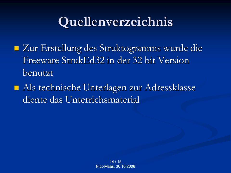 14 / 15 Nico Maas, 30.10.2008 Quellenverzeichnis Zur Erstellung des Struktogramms wurde die Freeware StrukEd32 in der 32 bit Version benutzt Zur Erstellung des Struktogramms wurde die Freeware StrukEd32 in der 32 bit Version benutzt Als technische Unterlagen zur Adressklasse diente das Unterrichsmaterial Als technische Unterlagen zur Adressklasse diente das Unterrichsmaterial