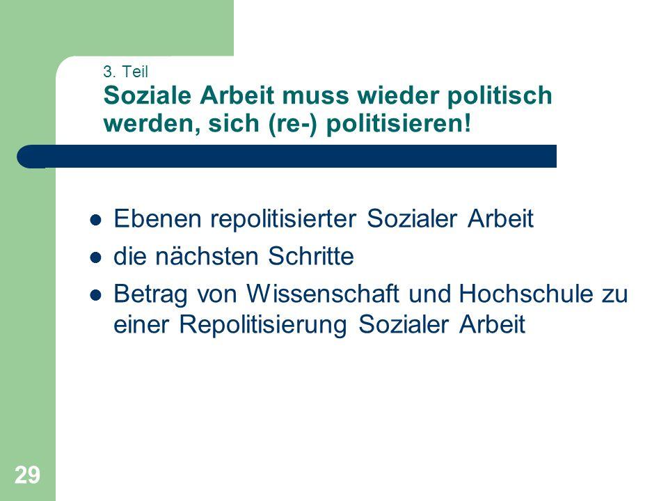 29 3. Teil Soziale Arbeit muss wieder politisch werden, sich (re-) politisieren! Ebenen repolitisierter Sozialer Arbeit die nächsten Schritte Betrag v