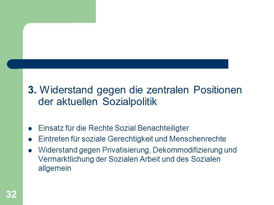 32 3. Widerstand gegen die zentralen Positionen der aktuellen Sozialpolitik Einsatz für die Rechte Sozial Benachteiligter Eintreten für soziale Gerech
