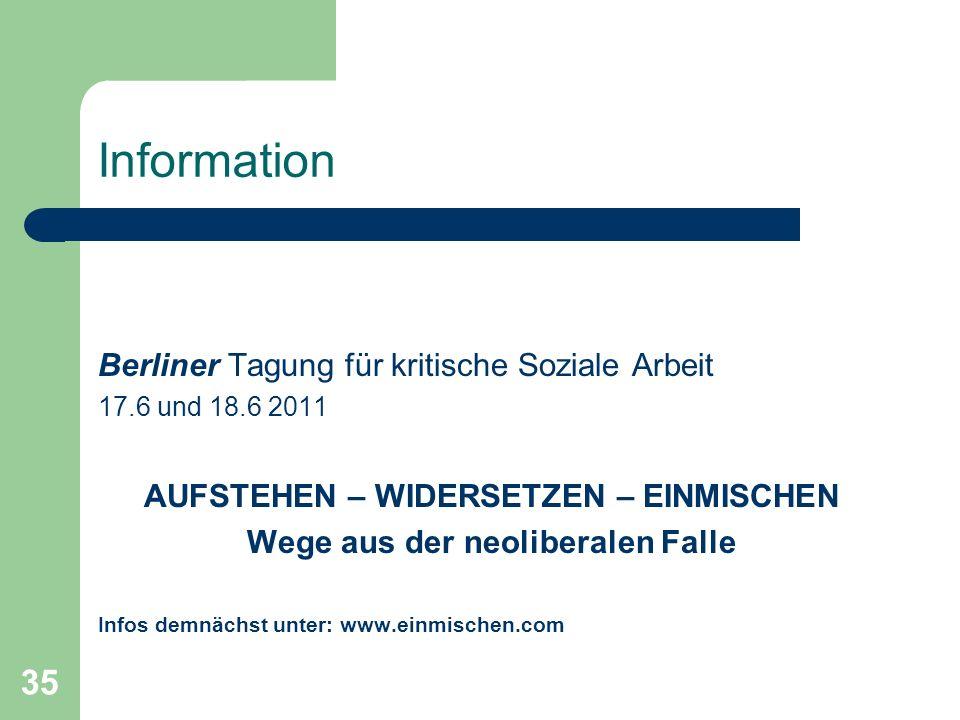 35 Information Berliner Tagung für kritische Soziale Arbeit 17.6 und 18.6 2011 AUFSTEHEN – WIDERSETZEN – EINMISCHEN Wege aus der neoliberalen Falle In