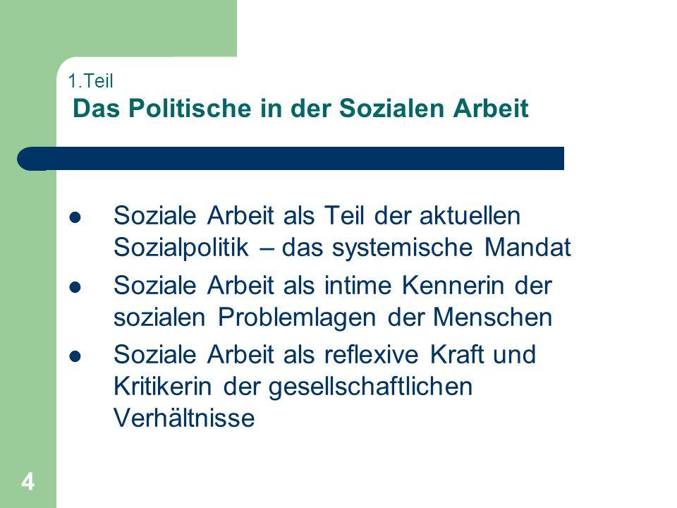 4 1.Teil Das Politische in der Sozialen Arbeit Soziale Arbeit als Teil der aktuellen Sozialpolitik – das systemische Mandat Soziale Arbeit als intime