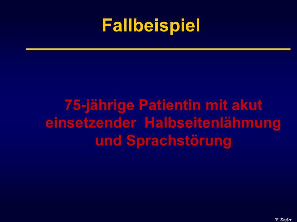 V. Ziegler Fallbeispiel 75-jährige Patientin mit akut einsetzender Halbseitenlähmung und Sprachstörung