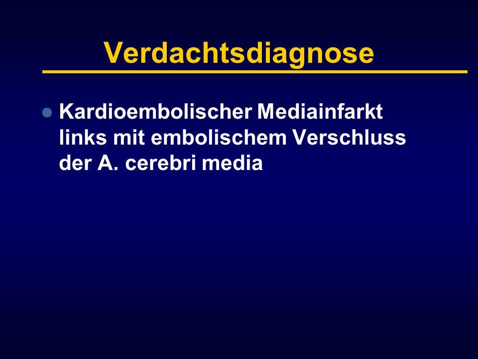 Verdachtsdiagnose Kardioembolischer Mediainfarkt links mit embolischem Verschluss der A. cerebri media