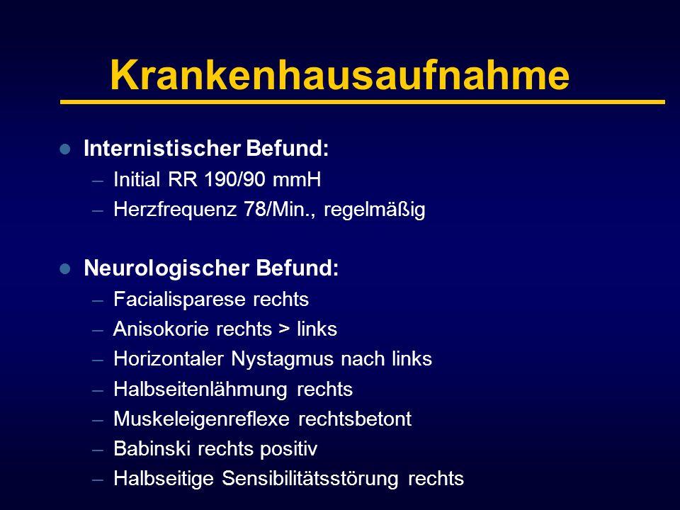 Krankenhausaufnahme Internistischer Befund: –Initial RR 190/90 mmH –Herzfrequenz 78/Min., regelmäßig Neurologischer Befund: –Facialisparese rechts –An