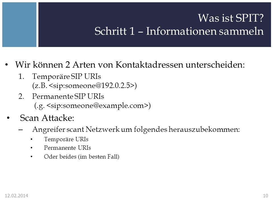 Was ist SPIT? Schritt 1 – Informationen sammeln Wir können 2 Arten von Kontaktadressen unterscheiden: 1.Temporäre SIP URIs (z.B. ) 2.Permanente SIP UR