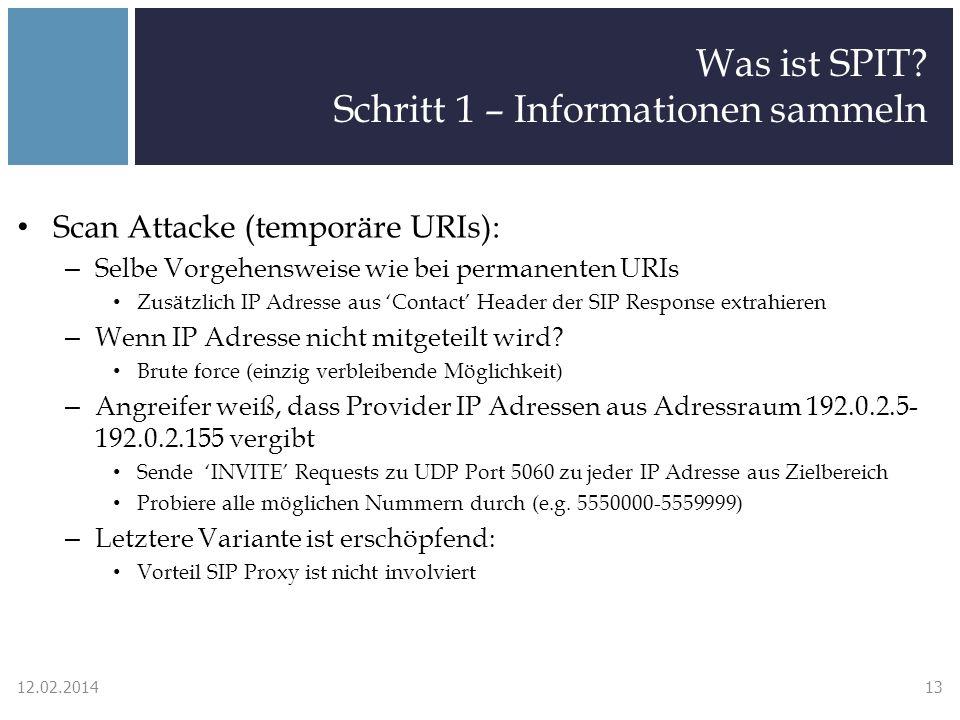 Was ist SPIT? Schritt 1 – Informationen sammeln Scan Attacke (temporäre URIs): – Selbe Vorgehensweise wie bei permanenten URIs Zusätzlich IP Adresse a