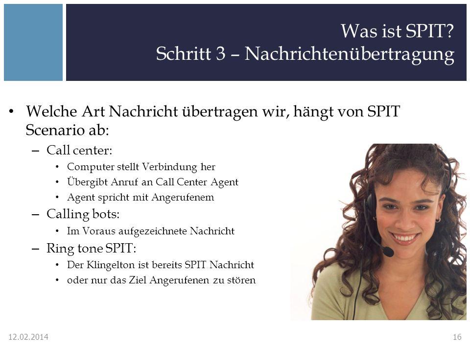 Was ist SPIT? Schritt 3 – Nachrichtenübertragung Welche Art Nachricht übertragen wir, hängt von SPIT Scenario ab: – Call center: Computer stellt Verbi