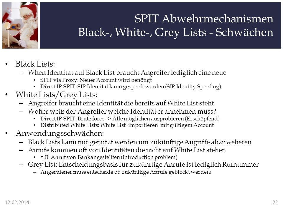 SPIT Abwehrmechanismen Black-, White-, Grey Lists - Schwächen Black Lists: – When Identität auf Black List braucht Angreifer lediglich eine neue SPIT via Proxy: Neuer Account wird benötigt Direct IP SPIT: SIP Identität kann gespooft werden (SIP Identity Spoofing) White Lists/Grey Lists: – Angreifer braucht eine Identität die bereits auf White List steht – Woher weiß der Angreifer welche Identität er annehmen muss.