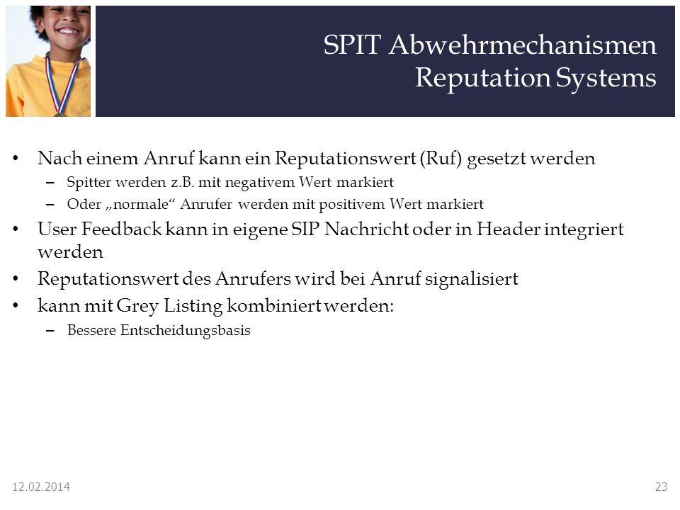 SPIT Abwehrmechanismen Reputation Systems Nach einem Anruf kann ein Reputationswert (Ruf) gesetzt werden – Spitter werden z.B. mit negativem Wert mark