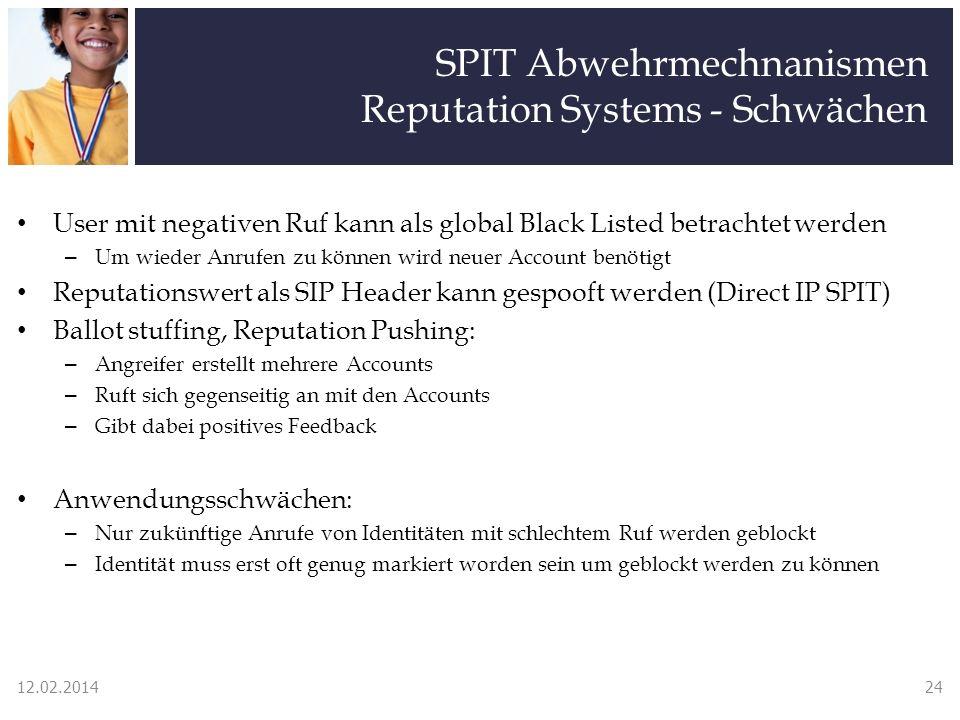 SPIT Abwehrmechnanismen Reputation Systems - Schwächen User mit negativen Ruf kann als global Black Listed betrachtet werden – Um wieder Anrufen zu kö