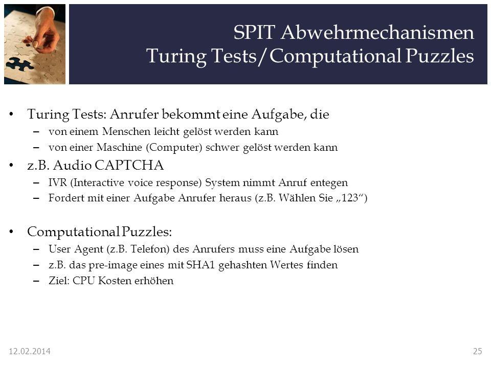 SPIT Abwehrmechanismen Turing Tests/Computational Puzzles Turing Tests: Anrufer bekommt eine Aufgabe, die – von einem Menschen leicht gelöst werden kann – von einer Maschine (Computer) schwer gelöst werden kann z.B.