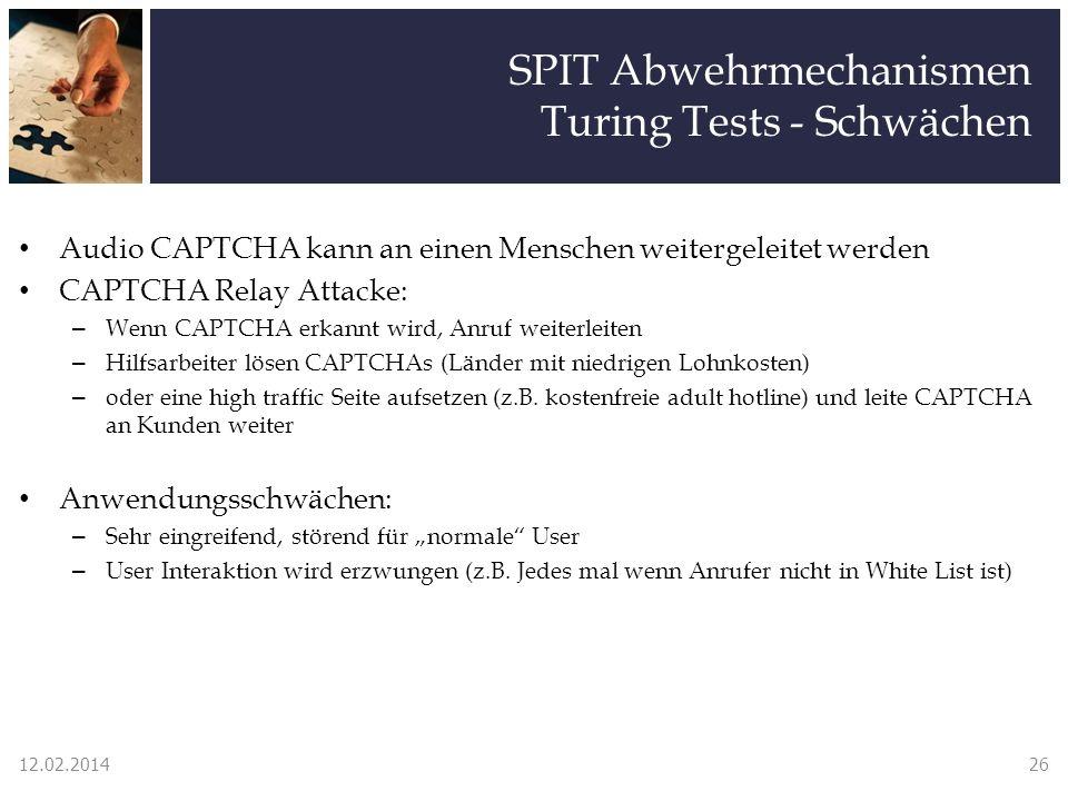 SPIT Abwehrmechanismen Turing Tests - Schwächen Audio CAPTCHA kann an einen Menschen weitergeleitet werden CAPTCHA Relay Attacke: – Wenn CAPTCHA erkan