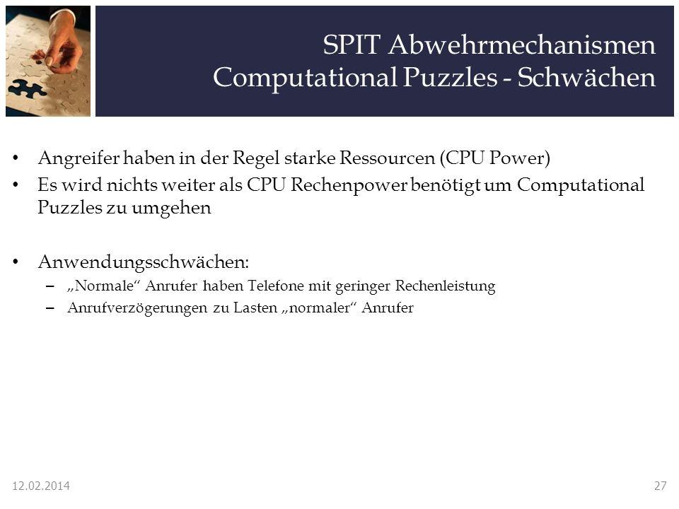 SPIT Abwehrmechanismen Computational Puzzles - Schwächen Angreifer haben in der Regel starke Ressourcen (CPU Power) Es wird nichts weiter als CPU Rech
